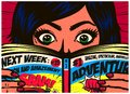 Pop art comics style excited girl reading comic book vector illustration