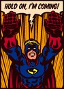 Pop art comics style superhero flying to the rescue vector illustration