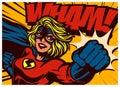 Pop art comics style superheroine punching with female superhero costume vintage comic book vector illustration
