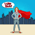 Pop Art Confident Business Woman Super Hero in Suit with Red Cape