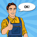 Pop Art Confident Smiling Mechanic with Wrench Thumbs Up