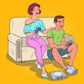 Pop Art Couple Playing Video Game at Home. Girl and Guy with Console Joystick Royalty Free Stock Photo