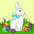 Pop art Easter bunny on green grass, Easter eggs. Comic book style imitation. Vintage retro style. Royalty Free Stock Photo