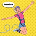 Pop Art Excited Beautiful Woman Jumping Bungee. Extreme Sports. Happy Girl Ropejumping Royalty Free Stock Photo
