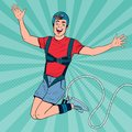Pop Art Excited Man Jumping Bungee. Extreme Sports. Happy Guy Ropejumping Royalty Free Stock Photo