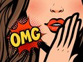 Pop art female face. Closeup of sexy young woman. OMG, vector illustration Royalty Free Stock Photo