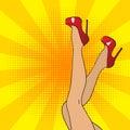 Pop art female legs in red shoes on high heels.