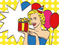 Pop Art girl with thought bubble. Party invitation. Royalty Free Stock Photo