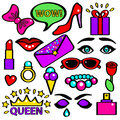 Pop Art Girlish Fashion Sticker Color Set. Vector Royalty Free Stock Photo