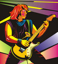 Pop art guitarist - perform in concert Royalty Free Stock Photos