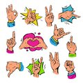 Pop art hands fingers showing gesture and human symbols hands different popart handle pose signal vector illustration.