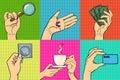 Pop art hands vector illustration.