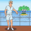 Pop Art Handsome Man Standing on Private Yacht. Tropical Beach Vacation