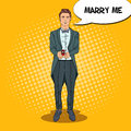 Pop Art Handsome Man in Tail-Coat with Wedding Ring. Marriage Proposal