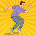 Pop Art Handsome Young Hip Hop Dancer. Joyful Guy Dancing