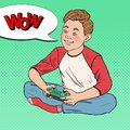Pop Art Happy Boy Playing Video Game. Kid with Control Console Royalty Free Stock Photo