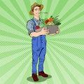 Pop Art Happy Farmer Holding Basket with Fresh Vegetables Royalty Free Stock Photo