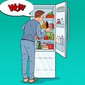 Pop Art Happy Man Looking Inside Fridge Full of Food. Guy with Refrigerator with Dairy Products Royalty Free Stock Photo