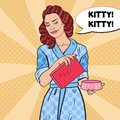 Pop Art Happy Woman with Feline Feed and Bowl. Pet Care