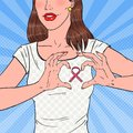 Pop Art Happy Woman Showing Pink Ribbon on Chest. Symbol of Prevention Breast Cancer Royalty Free Stock Photo