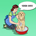 Pop Art Happy Woman Washing Dog