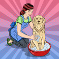 Pop Art Happy Woman Washing Their Dog