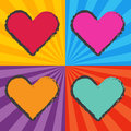 Pop art heart retro hearts in style with sunburst background Royalty Free Stock Image
