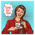 Pop Art illustration of woman with morning cup of tea. Pin-up girl speech bubble. Royalty Free Stock Photo