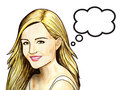 Pop Art illustration of woman with the speech bubble. Beautiful smile. White background. Royalty Free Stock Photo