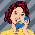Pop art lady chatting on the phone vector illustration Stock Photography