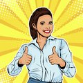 Pop art Like successful female businesswoman showing thumb up. Like gesture