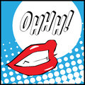 Pop art lips with Ohhh illustration Royalty Free Stock Photo