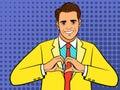 Pop art man heart hand sign