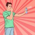 Pop Art Man Spraying Can of Air Freshener