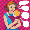 Pop art mom and baby mother child composition doodle illustration over a background with dots Stock Photography