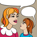 Pop art mom and kid woman schoolboy or schoolgirl cartoon illustration over a background with dots Royalty Free Stock Photography