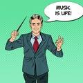 Pop Art Music Conductor Man with a Baton
