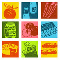 Pop art objects - food & market Royalty Free Stock Image