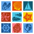 Pop art objects - sailing & travel Royalty Free Stock Photo