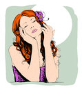 Pop art portrait of a dreaming lovely woman. Royalty Free Stock Photo