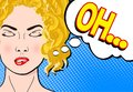 Pop art retro comic style blond woman with close eyes dreaming a Royalty Free Stock Photo