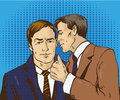 Pop art retro comic vector illustration. Two businessman talk to each other. Man tell business secret his friend. Speech