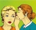 Pop art retro comic vector illustration. Woman whispering gossip or secret to her friend