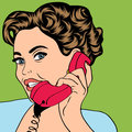 Pop art retro woman in comics style illustratation Stock Photo