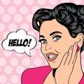Pop art retro woman in comics style vector illustratation Royalty Free Stock Photo