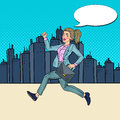 Pop Art Running Business Woman with Briefcase