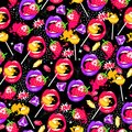 Pop art seamless pattern with lips, strawberry, lollipops, diamonds and love. Royalty Free Stock Photo