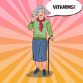 Pop Art Senior Happy Woman with Vitamins. Health Care
