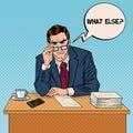 Pop Art Serious Businessman with Eyeglasses at Multitasking Office Work