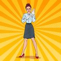 Pop Art Serious Female Inspector Wearing White Gloves. Professional Examiner Royalty Free Stock Photo